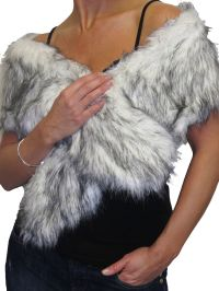 White Faux Fur Shawl Collar Scarf